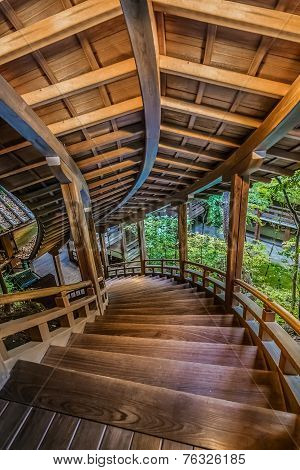 Wooden stair case that leads to Kaisan-do hall at Eikando Temple in Kyoto Japan