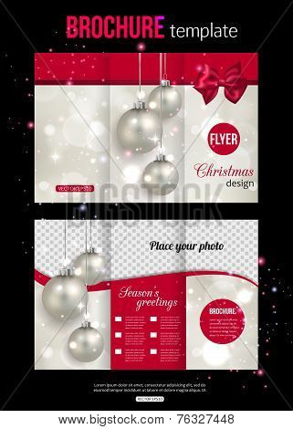 Christmas trifold brochure template. Abstract flyer design with xmas pink bow, silver balls, blurred