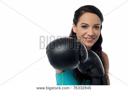 Sporty Woman With Boxing Gloves