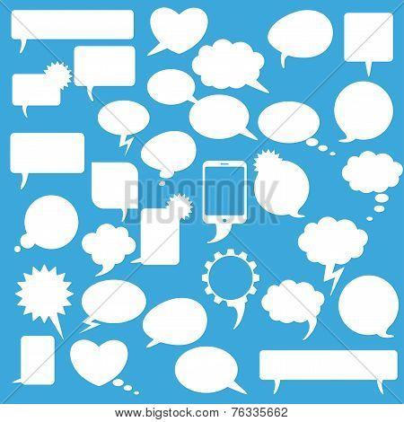 Speech Bubbles Set Blue Background