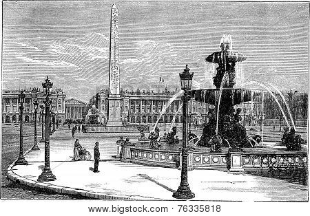 Place De La Concorde In Paris France Vintage Engraving