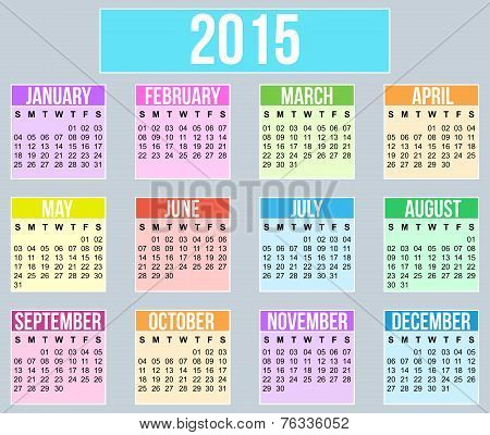 Year 2015 flat style Calender