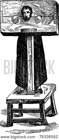Pillory, After An Ancient Engraving, Vintage Engraving.