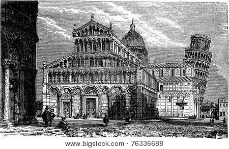 Leaning Tower, Cathedral And Baptistery Of Pisa, Vintage Engraving.