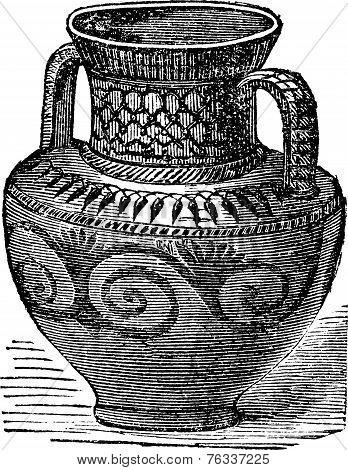 Phoenician Vase Vintage Engraving