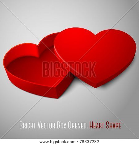 Vector realistic blank red opened heart shape box. For your valentines day, wedding or love presents