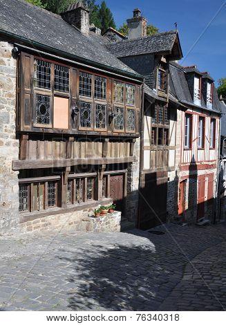 The Medieval Street Of Rue De Jerzual In Dinan, Brittany, France