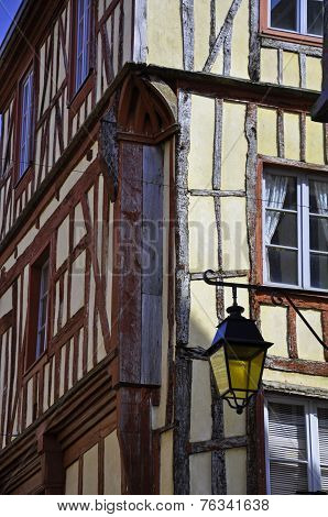 Medieval Building With Lamp In Dinan