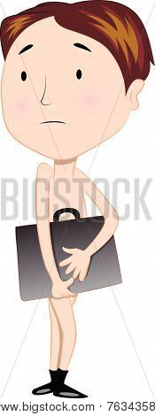 Vector Of Naked Bankrupt Businessman With Briefcase.