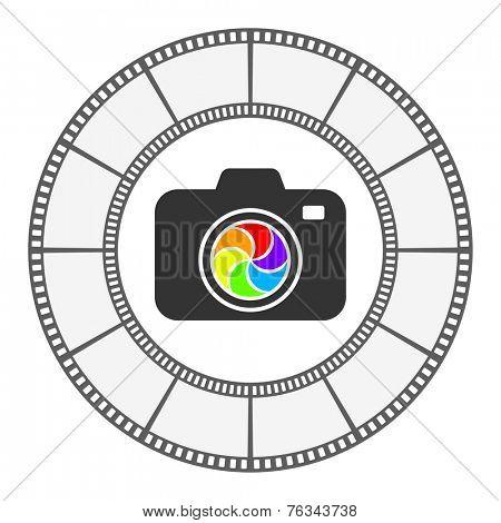 photo camera icon round frame vector design