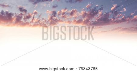 Beautiful sky background, pink cloudscape as abstract natural background with copy space, cumulonimbus clouds in sunset light