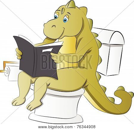 Dinosaur Using A Toilet, Illustration