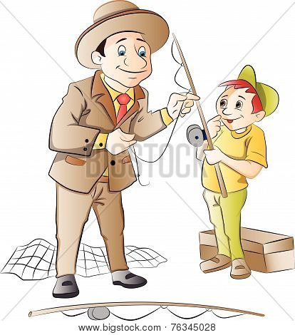 Man Teaching A Boy How To Fish, Illustration