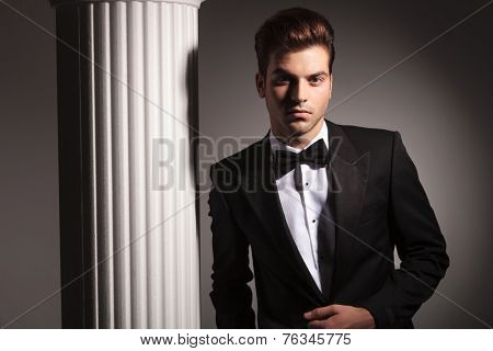 Handsome elegant business man posing near white column on grey studio background.