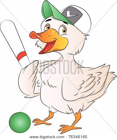 Duck Baseball Player, Illustration