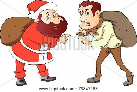Vector Of Santa And Burglar With Sacks On Their Back.