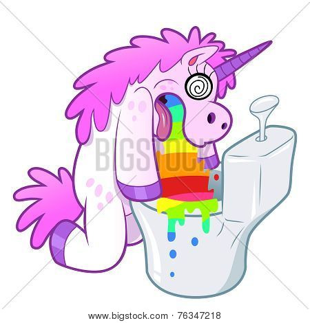 Unicorn Pukes Rainbow In The Toilet