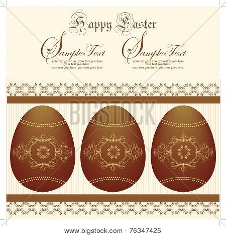 Vintage Easter Invitation Card With Ornate Elegant Abstract Floral Design