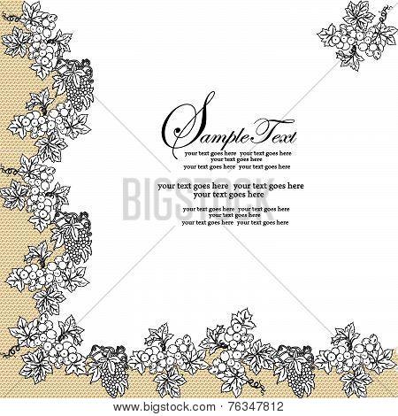 Vintage Invitation Card With Elegant Abstract Floral Design, Black Grapes
