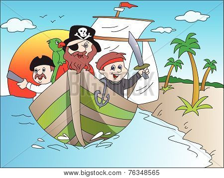 Vector of Pirate's on a Boat.