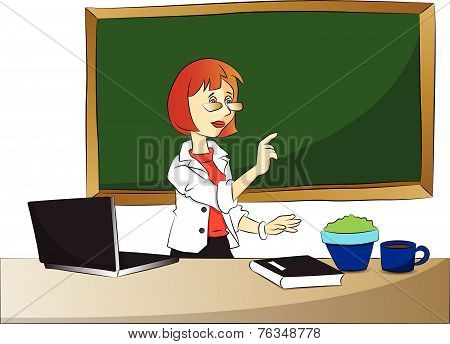 Vector Of Curious Teacher Pointing