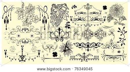 Vintage Elements With Ornate Elegant Retro Abstract Floral Designs