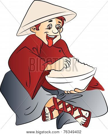 Vector Of Excited Man With A Bowl Of Food.