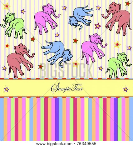 Vintage Invitation Card With Cute Abstract Elephants And Stars Design