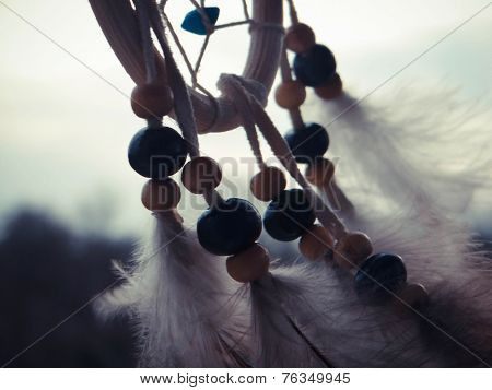 Wooden Dreamcatcher With Feathers And Beads