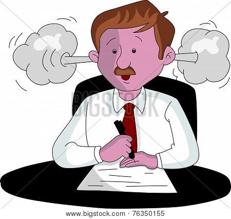 Vector Of An Angry Businessman At Work.