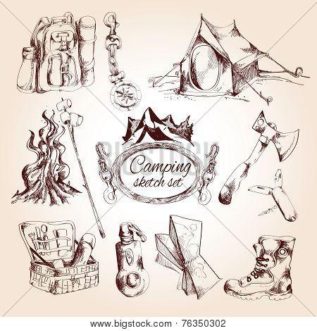 Camping sketch set