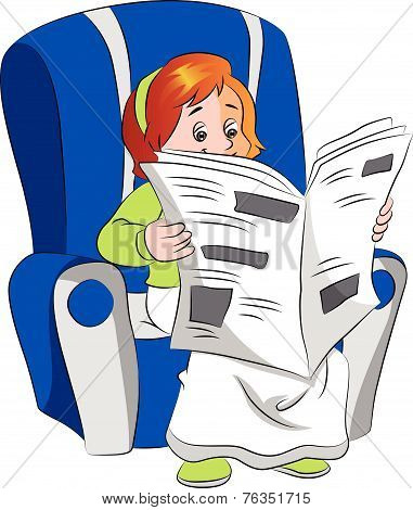 Vector Of Woman Reading Newspaper.