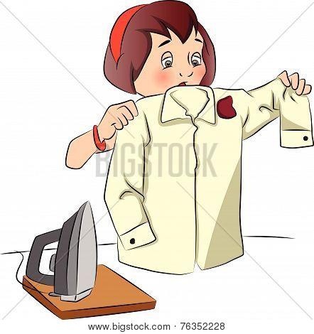 Vector Of Woman Looking At Burnt Shirt.