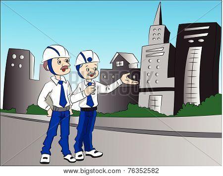 Vector Of Building Contractors Talking.