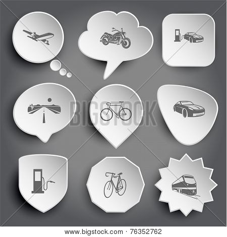 airliner, motorcycle, car fueling, road, bicycle, fueling station, train. White vector buttons on gray.