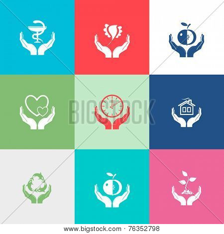 In hands set. Flat color vector icons.