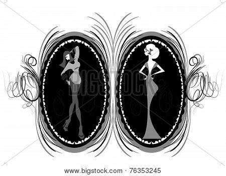Vintage Frame Design With Girls