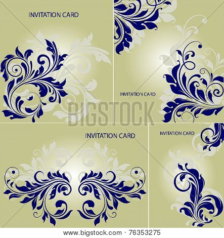 Set Of Four (4) Vintage Invitation Cards With Ornate Elegant Abstract Floral Design