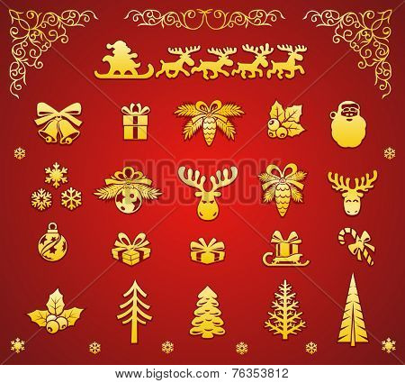 Christmas Golden Decorative Elements Set