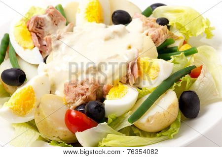 Freshly made traditional nicoise salad with tuna, boiled egg, potato, mayo, beans, olives and lettuce seen close-up.