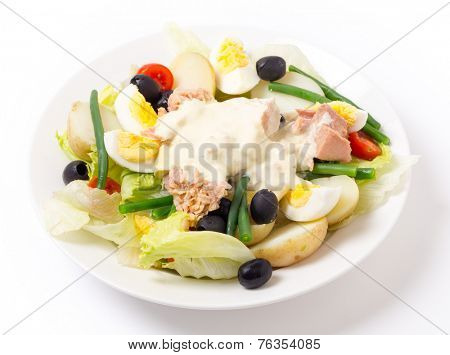 Freshly made traditional nicoise salad with tuna, boiled egg, potato, mayo, beans, olives and lettuce, seen from the side