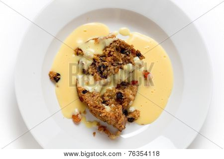 College pudding, the traditional steamed  dessert served to students at Oxford and Cambridge, containing dried fruits, candied peel, flour, sugar, bread, egg and suet.