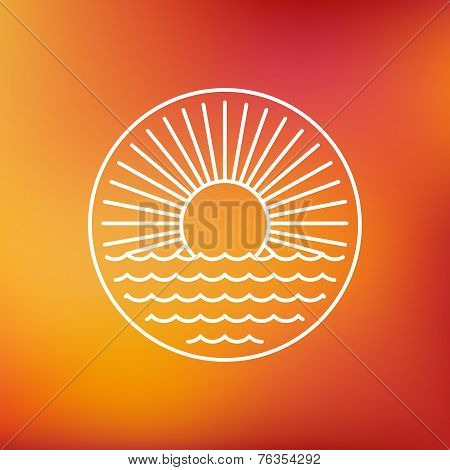 Vector Sun Emblem In Outline Style
