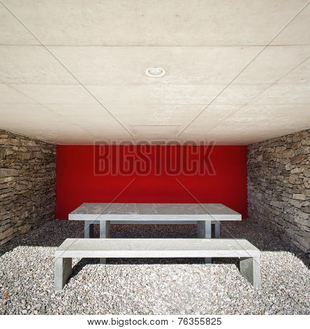 Outdoor table made of marble in to the veranda