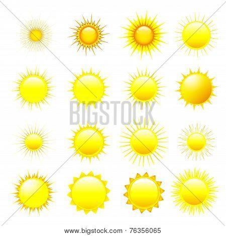 Set Of Orange And Yellow Sun Over White