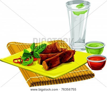 Vector Of Eggrolls With Drink And Sauce.