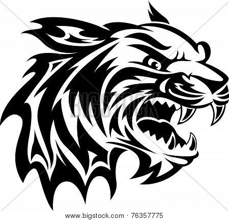 Tiger Head Tattoo, Vintage Engraving.
