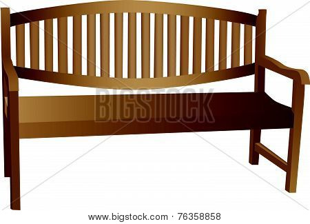 Illustrated Wooden Bench