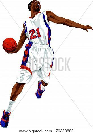 Vector Of Basketball Player Going For A Slam Dunk.