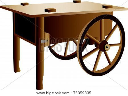 Wooden Handcart Illustration